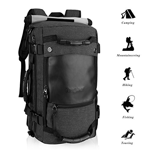 Ibagbar Upgraded Hiking Backpack Water Resistant Travel Backpack Camping Climbing Backpack Rucksack, Daypack for Men and Women Black
