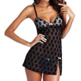 Gemini_mall® Women's Sexy Lingerie Set Babydoll Lace Splice Chemise Sleepwear Night Dress+G-string