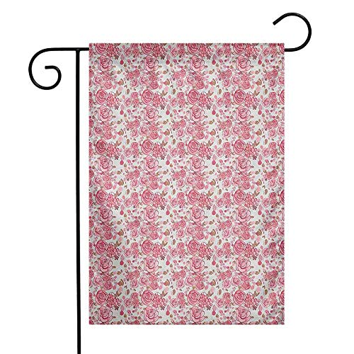(duommhome Wedding Garden Flag Bouquet of Romantic Sketch Roses Blooming Petals and Leaves Spring Flora Premium Material W12 x L18 Pale Pink Pale Brown)