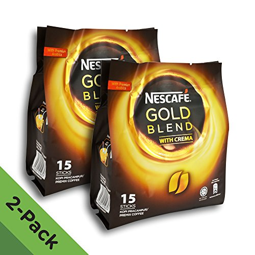 2 Pack - Nescafe Gold Blend 3-in-1 Instant Coffee (30 Single Serve Sticks Total) - Made with Premium Grade Fine Coffee Beans with Cream and Sugar - Imported from Nestle -