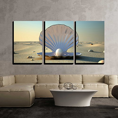wall26 - 3 Piece Canvas Wall Art - an Open sea Shell with a Pearl Inside - Modern Home Decor Stretched and Framed Ready to Hang - 16