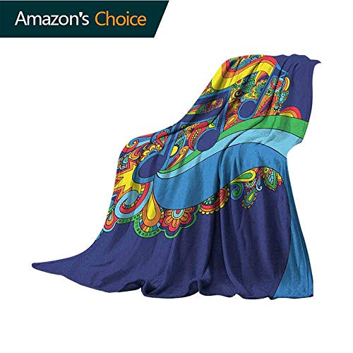 Music Cool Blanket,Colorful Sixties Inspired Floral Composition with Notes on a Blue Toned Background Comfortable Soft Material |give You Great Sleep,70
