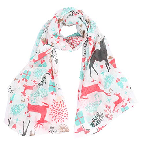 CBC CROWN CHRISTMAS THEME SCARF (VARIOUS PATTERNS AND DESIGNS) (WHITE WITH DEERS)