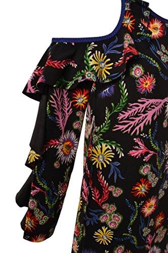 Immortalare Spalla Multicolore Manica Donna Abito Mare Crepe In Con 1g12zn6773zr3 Scoperta Pinko Fiori Noir Rouches Del Satin Nero EPfFOO1wq