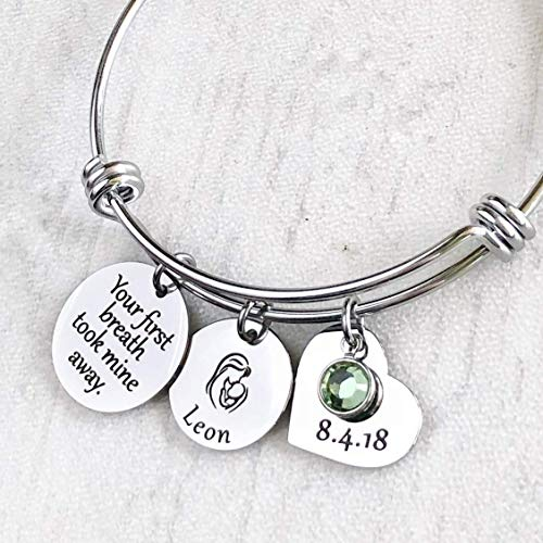 Your first breath took mine away - First Time New Mom Personalized Child's Name and Date Charm - Breath Charm