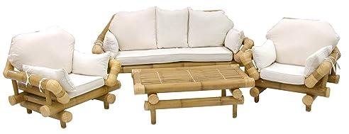 Amazon.de: Wohnzimmer Riesen in echtem Rute Doppel-Bambus Sofa 3 ...