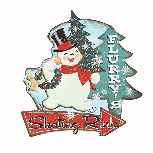 (Retro Vintage Tin Embossed Christmas Sign with Santa, Tree, or Snowman - Hanging Holiday Decoration (Snowman))