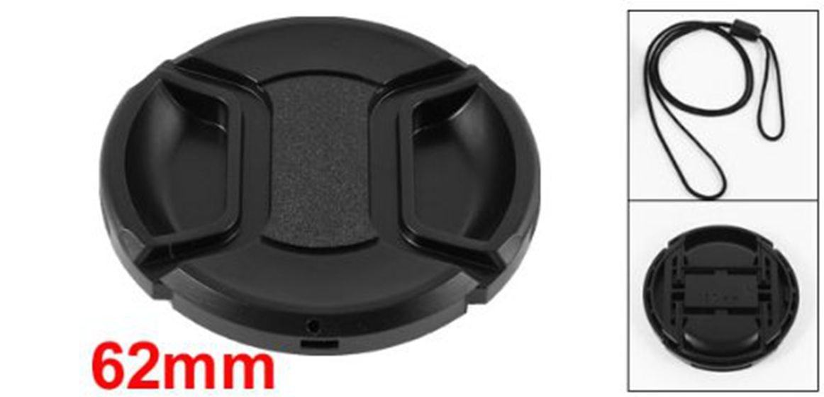 Moligh doll Negro 62mm Cubierta Tapa de Lente Delantera de Diseno de pellizco Central