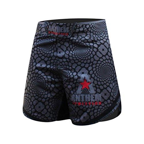 "Anthem Athletics DEFIANCE Kickboxing Short MMA Shorts - Muay Thai, BJJ, WOD, Cross-Training, OCR - Black Viper - 32"""