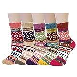 Bowbear Women's 5-Pair Vintage Pattern Wool Socks, Swedish