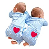 Birdfly Cute Twin Infant Baby Lovely Heart Pattern Mom Dad Letter Print Romper Jumpsuit Photography Outfit