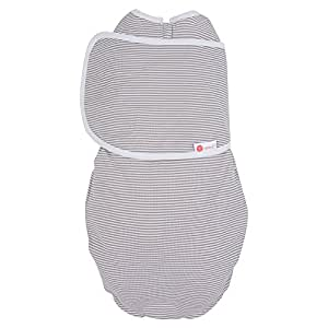 embe 2 way swaddle - Luxe Gray Stripe - 100% Pima Cotton Baby Swaddle with 2in1 Design - Legs In or Out - Fits Infants or Babies 0-4 months and 6-14 pounds.