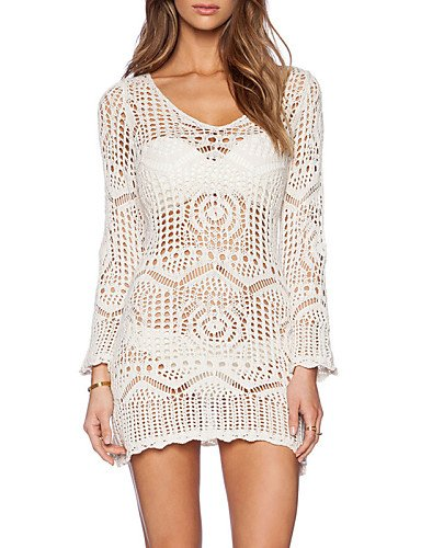 skt-swimwear Damen Fashion Hohl Crochet Lange Ärmel Badeanzug Bademode Bikini Kleid Strand Cover Up
