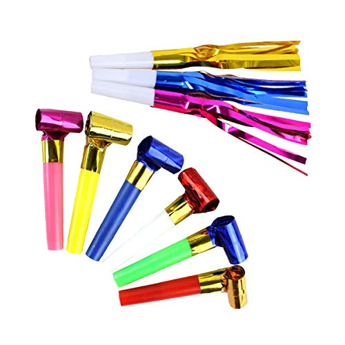 Halloluck 144 Pcs Two Kinds of Noisemakers Blowouts Party Horns, Party Favors, New Years Party Noisemakers, Party Whistles and Streamers, Party Blowouts Whistles -