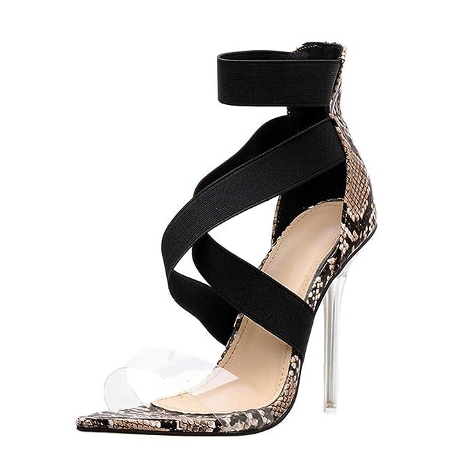 29d3cc5377986 Amazon.com: YEZIJIN Women's Fashion Snakeskin Pointed Toe Thin Heel ...