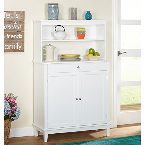 Simple Living Farmhouse Buffet with Hutch, White Finish - Corner Buffet Hutch