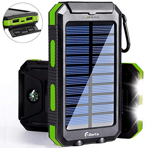 Solar Charger, 20000mAh Solar Power Bank Portable Chargers for Cell Phone External Battery Charger with Dual 2 USB Port/LED Light Backup Battery Pack for Backpacking Camping Solar Charging (Best Cell Phone For Backpacking)