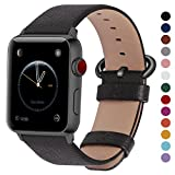 Fullmosa Compatible Apple Watch Band 44mm 42mm 40mm 38mm, Genuine Leather Band Compatible Apple Watch Series 4, Series 3, Series 2, Series1 Nike+ Hermes&Edition, 44mm 42mm Space Grey + Gunmetal Buckle