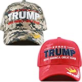 "The Hat Depot Exclusive 45th President ""Make America Great Again"" 3D Signature Cap (Set of Digi Camo and Red Caps)"