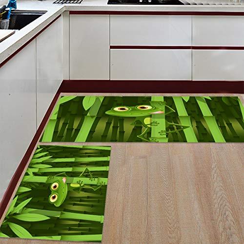 Prime Leader 2 Piece Non-Slip Kitchen Mat Runner Rug Set Doormat Green Frog Bamboo Camouflage Door Mats Rubber Backing Carpet Indoor Floor Mat (23.6