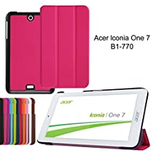 Acer Iconia One 7 B1-770 Cover,[Scratch Resistant] [Magnetic Closure] Soft Slim Back Cover Folding Case for Acer Iconia One 7 B1-770 Back Case with Stand Features-Rose
