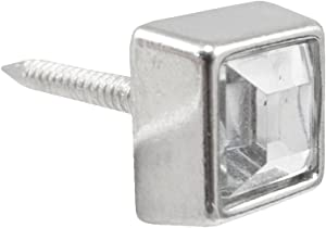 Springfield Leather Company Small Nickel Square Crystal Upholstery Tack 25 Pack