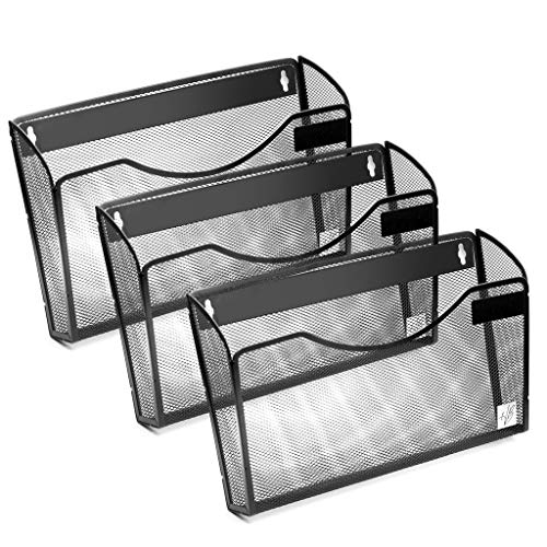 Wall Mount File Organizer for Storage, Pocket File Holder, Wall Basket, Metal Mesh Office & Home Mail Magazine Sorter Rack with Hardware (3 Pack)