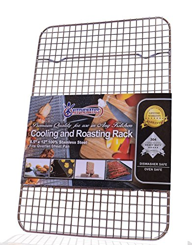 "Kitchenatics 100% Stainless Steel Wire Cooling and Roasting Rack Fits Quarter Sheet Size Baking Pan, Oven Safe, Commercial Quality, Heavy Duty (8.5"" X 12"")"