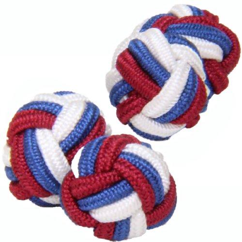 Red, White & Blue Silk Knot Cufflinks | Cuffs & Co