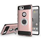 Newseego for Google Pixel 2 Case with Armor Dual Layer 2 in 1 with Extreme Heavy Duty Protection and Finger Ring Holder Kickstand Fit Magnetic Car mount for Google Pixel 2-Rose gold