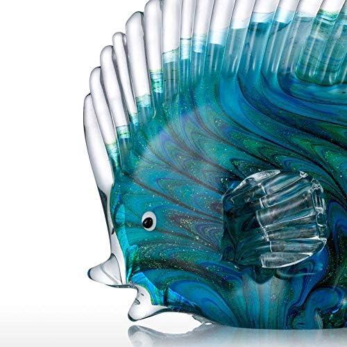 Estatuas Decorativas de vidrio azul peces tropicales decoración del hogar arte 6