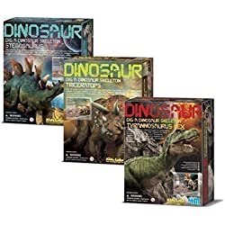Dig a Dinosaur Excavation Dino Kit T-Rex Stegosaurus and Triceratops Dinosaurs - 3 Pack by Universal Specialtes