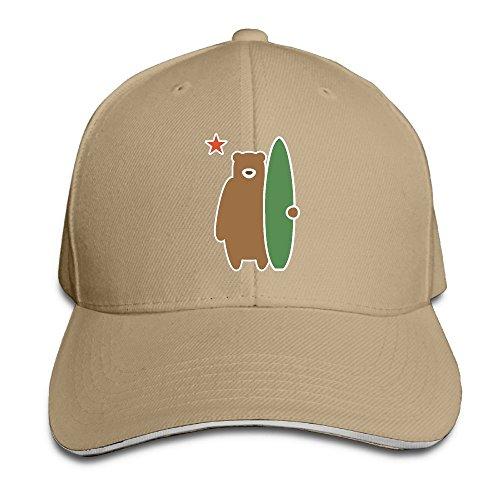 SNMHILL Men Women California Republic State Surf Bear Flag Fashion Peaked Sandwich Hat Sports Adjustable Baseball Cap Unisex