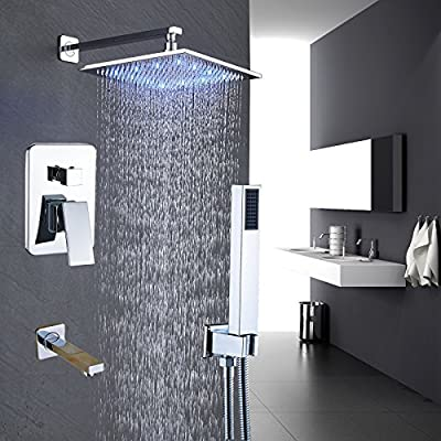 Rozin Chrome Finish LED Light 12-inch Rainfall Shower Set 3-way Mixing Control Tub Tap + Handheld Spray
