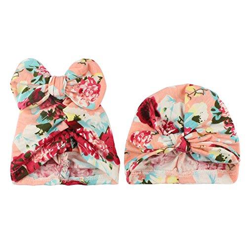2PC Baby Print Rabbit Bow Hat Girl Boy Cap Children Hats Toddler Kids Hat - Barbie Cotton Panties