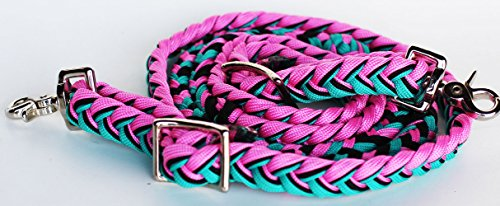 Reins Tack (ProRider Horse Roping Knotted Tack Western Barrel Reins Nylon Braided Pink Turq 607485)