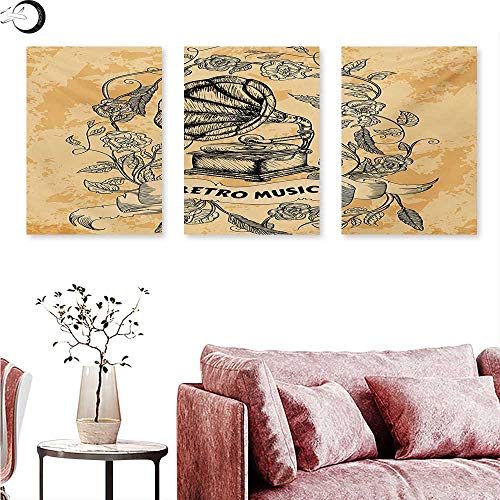 e Wall hangings Drawing of Nostalgic Gramophone Vinyl Rose Petals Leaves with Retro Music Banner Triptych Wall Art Orange Black W 24