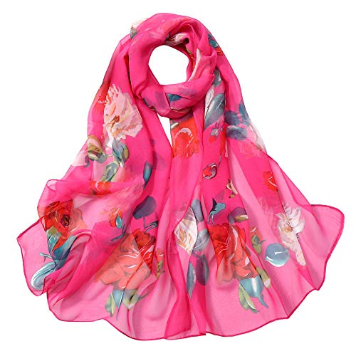 - MOSERIAN Women Roses Printing Long Soft Wrap Scarf Simulation Silk Shawl Scarves