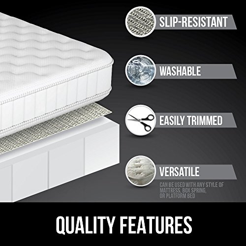 Gorilla Grip Original Slip Resistant Mattress Gripper Pad, Helps Stop Bed + Topper from Sliding, Stopper Works on Sofa, Couch, Futon, Easy to Trim Size, Strong, Durable Grips Help Slipping (Queen)
