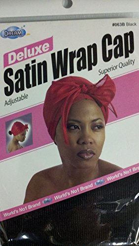 - DREAM DELUXE ADJUSTABLE SATIN WRAP CAP #063B BLACK