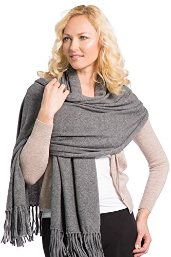 Fishers Finery Women's 100% Cashmere Knit Scarf with Fringe (Iron Gate) by Fishers Finery (Image #2)