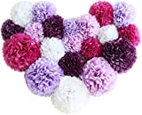 Voplop Paper Pom Poms - 20 pcs of 8, 10, 14 Inch - Paper Flowers - Perfect For Wedding Decor - Birthday Celebration - Table and Wall Decoration (Purple mix)