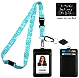 Tiffany Blue Swirls Print Lanyard with PU Leather ID Badge Holder Wallet with 3 Card Pockets, Safety Breakaway Clip, Note Card. Gift of Carabiner Keychain Flashlight. Lanyard for Cruise or Work