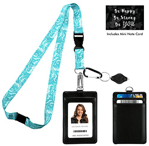 Tiffany Blue Swirls Print Lanyard with PU Leather ID Badge Holder Wallet with 3 Card Pockets, Safety Breakaway Clip, Note Card. Gift of Carabiner Keychain Flashlight. Lanyard for Cruise or - Keys Tiffanys