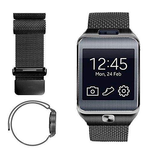 iWonow 22mm Milanese Loop Watch Band Stainless Steel Magnetic Bracelet Strap for Samsung Gear 2 R381 R382 R380, LG G Watch, Asus Zenwatch 1 2 Men, Pebble Time, Gear S3 Classic / Frontier, Black - Gear 2 Band