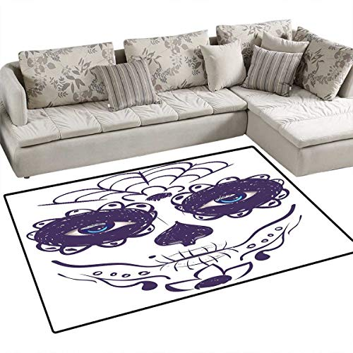 "Day of The Dead Bath Mats for Floors Dia de Los Muertos Sugar Skull Girl Face with Mask Make up Print Door Mat Indoors Bathroom Mats Non Slip 48""x60"" Black White and Blue"