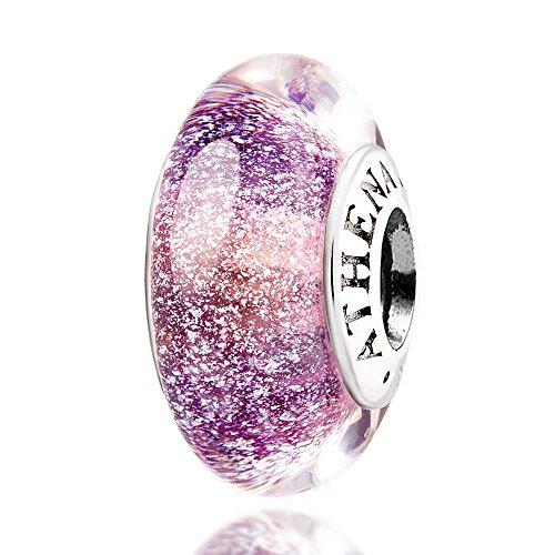 ATHENAIE Murano Glass 925 Silver Core Purple Fluorescent Charms Bead