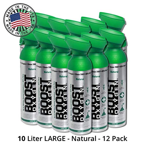 Amazing Portable Oxygen Machine 95% Pure Oxygen Supplement, Portable Canister of Clean Oxygen, Increases Endurance, Recovery, Mental Acuity and Performance (10 Liter Canisters, 12 Pack, Natural) 2019