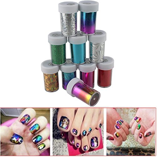 IebeautyNewest Fashion 25 colors Nail Art Transfer Foil Nail St Pack of 10 rolls (Halloween Nail Designs Pinterest)