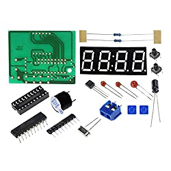 ROY ROJAS C51 4 Bits DIY Electronic Clock Kit, 0.56  Red LED Display Digital Time Unit, AT89C2051 Computer Chip for Soldering Practice with Operation Instruction
